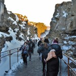 Walking Between The North American And Eurasian Tectonic Plates At Thingvellir In Iceland