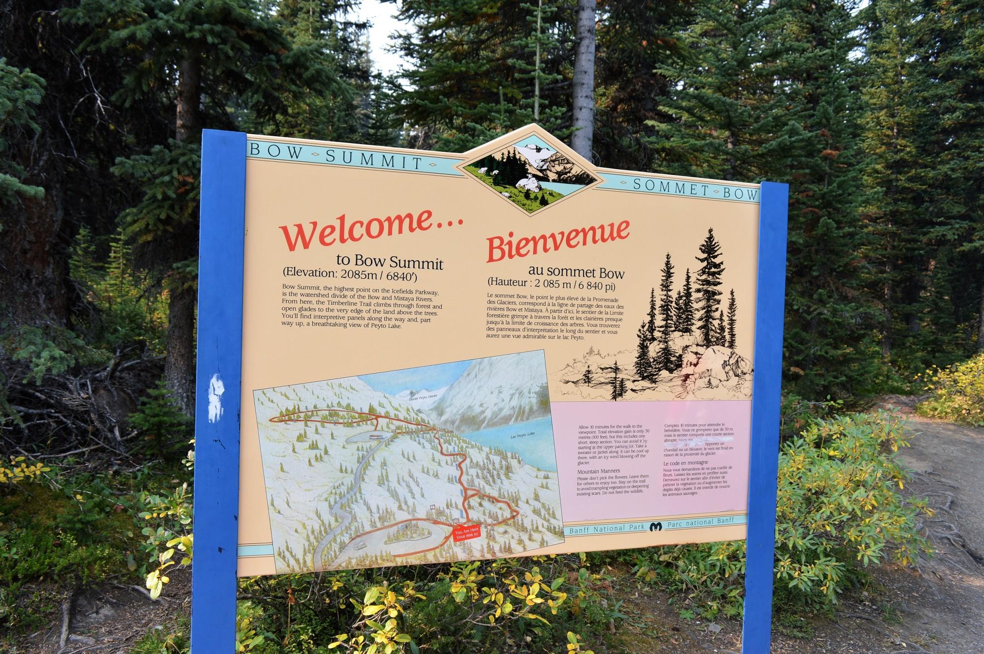 Bow Summit sign at Peyto Lake