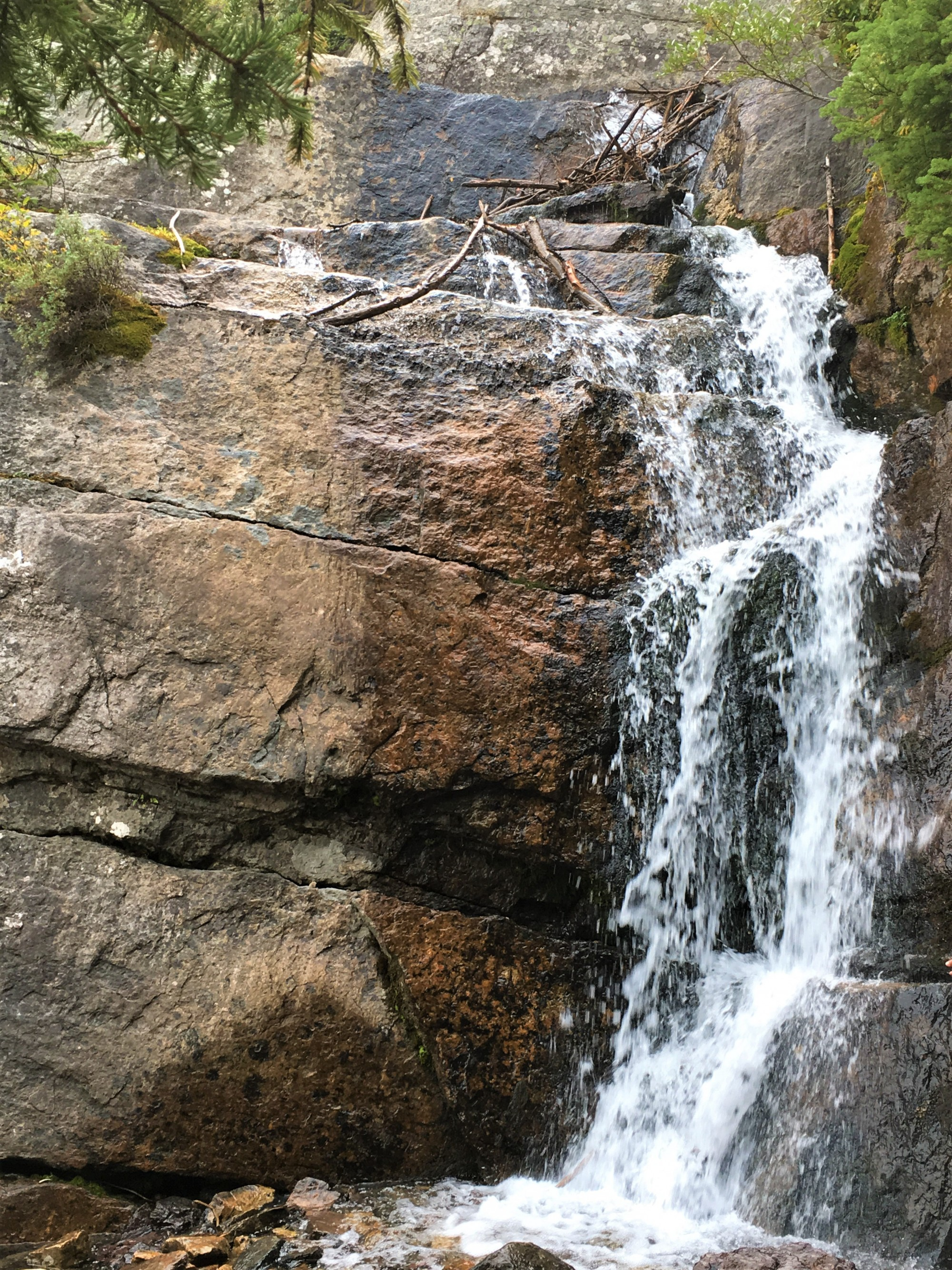 Small waterfall at Lake Agnes