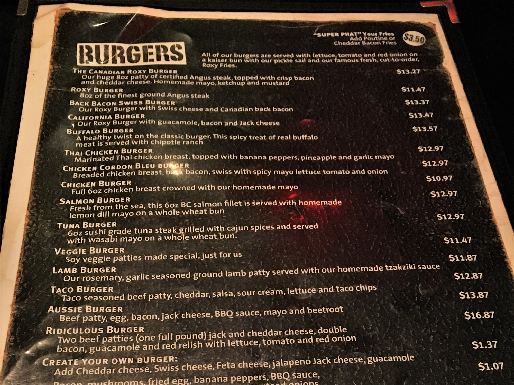 Menu at Roxy Burger Vancouver