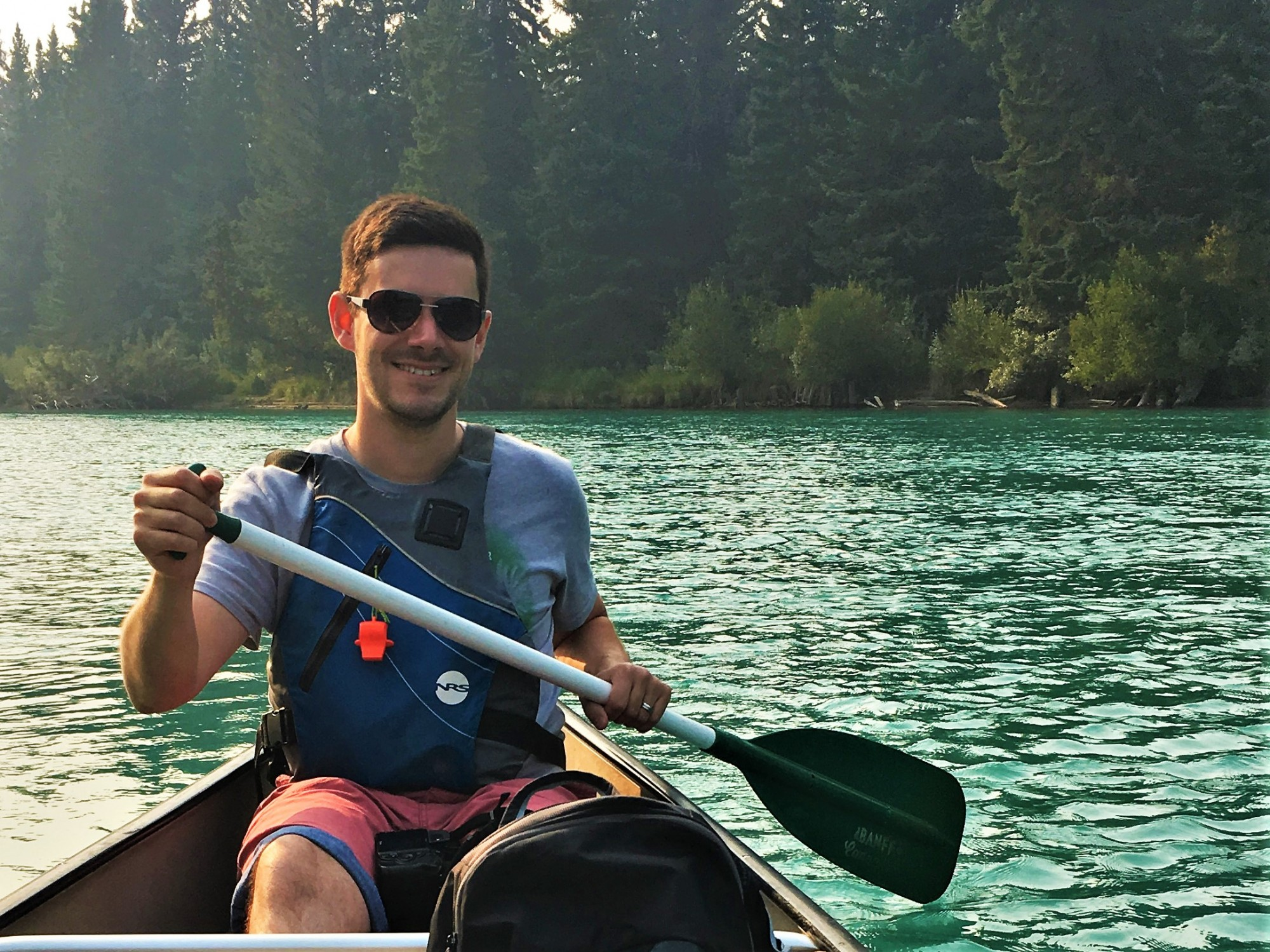 Nick canoeing the Bow River in Banff
