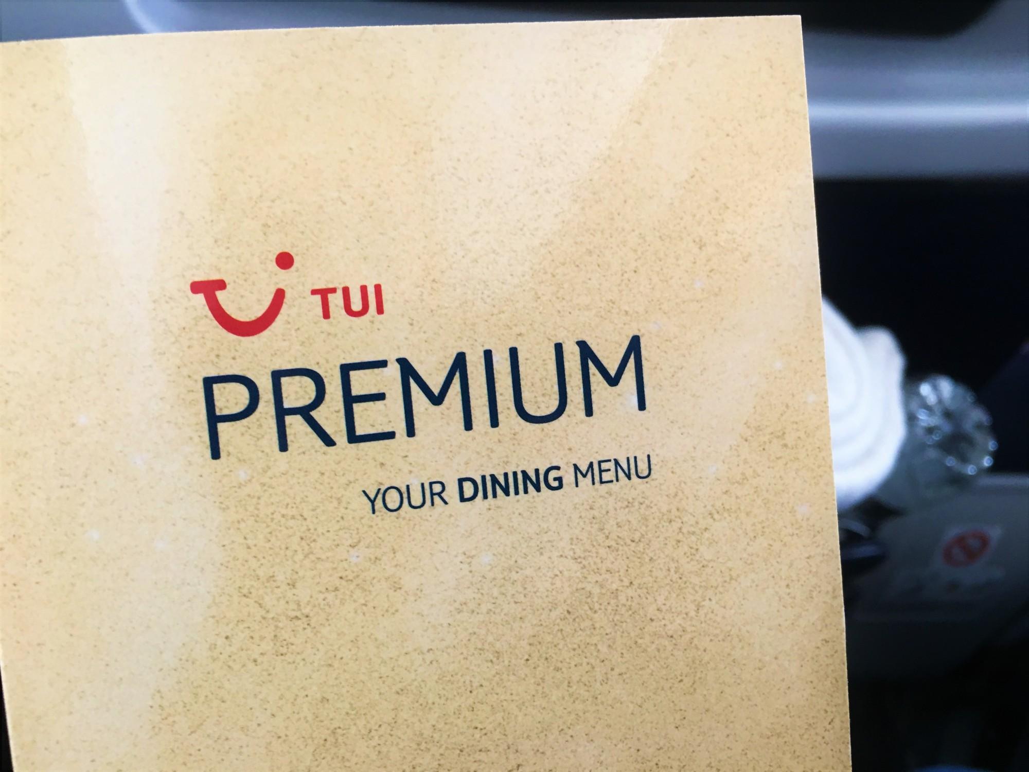 TUI Premium Dining Menu