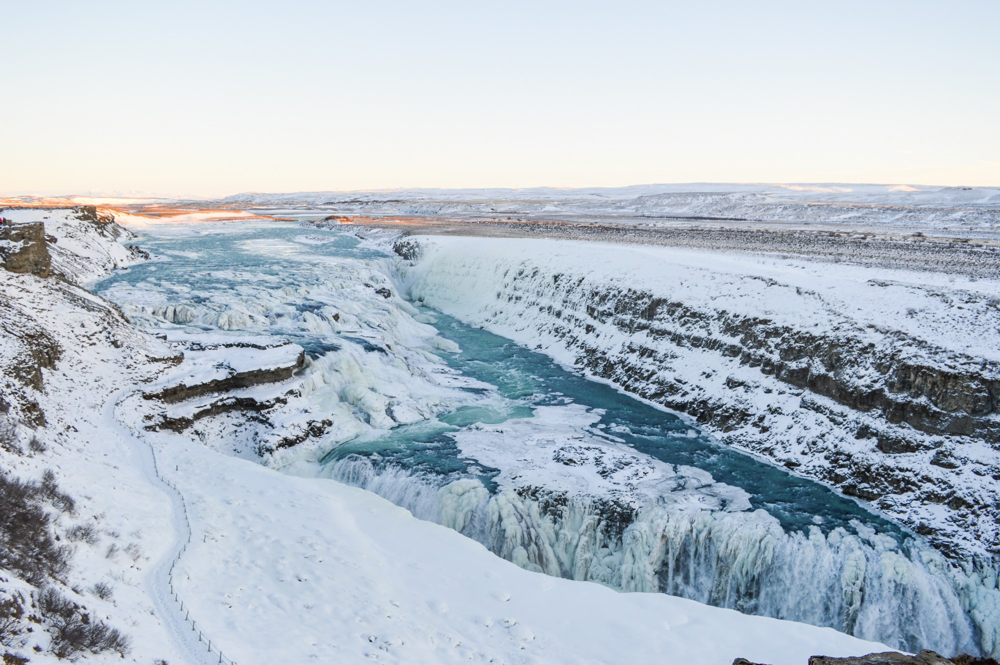 Upper Falls at the Gullfoss Waterfall In Iceland