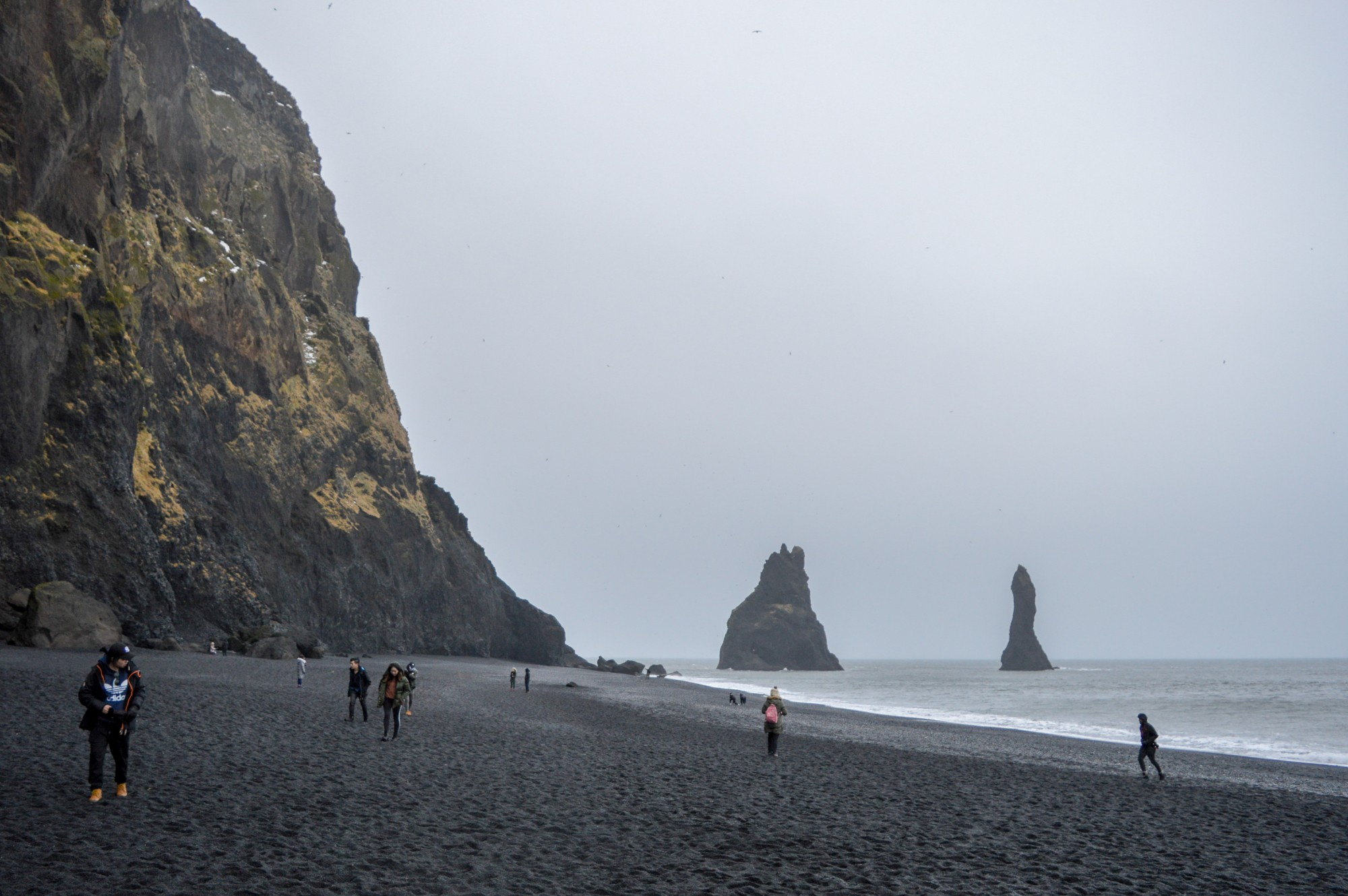 Standing On Reynisfjara Beach's Black Sand At Vik In Iceland
