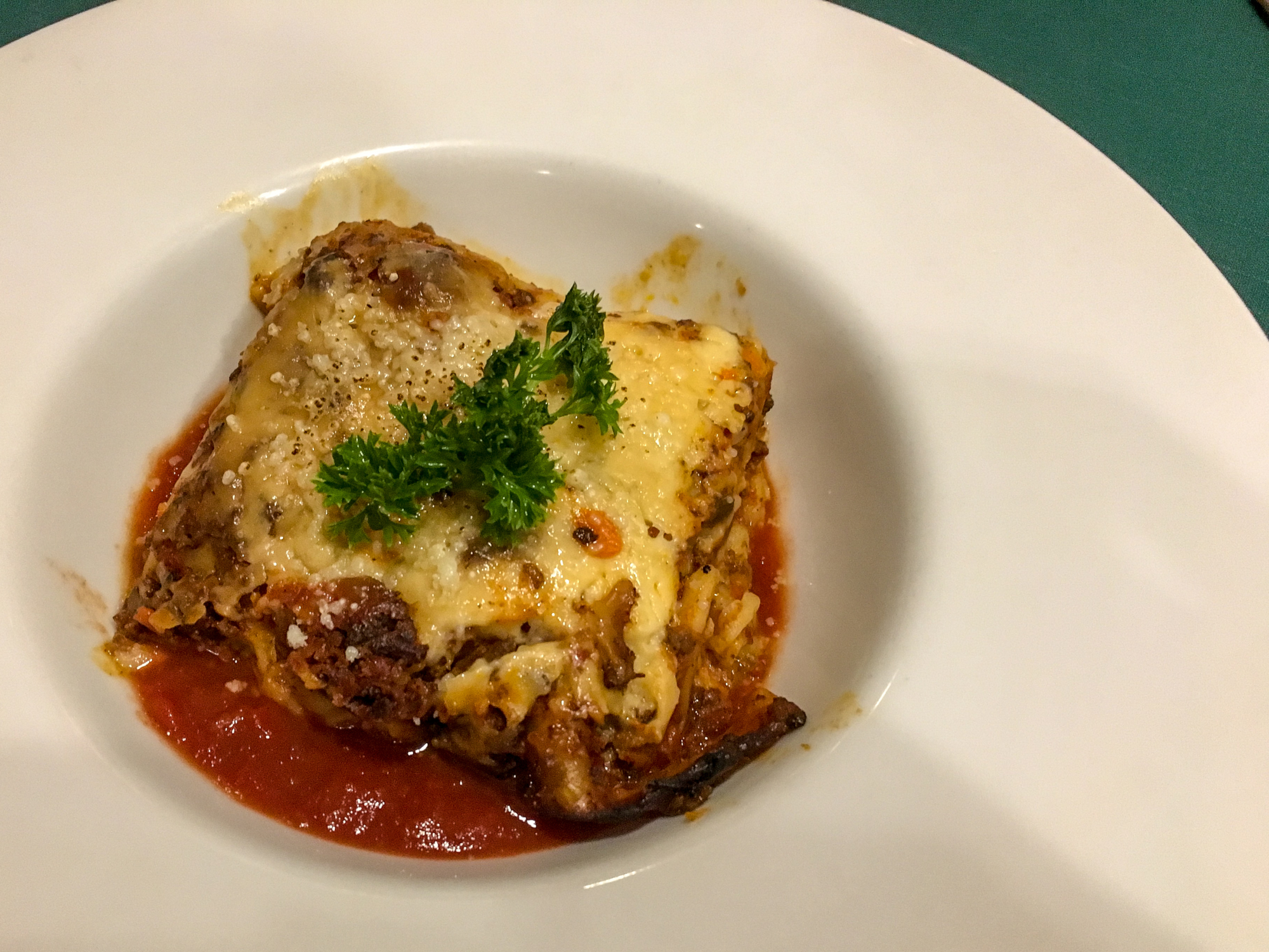 Lasagne at Uncle Nan's Italian Restaurant at Cape Panwa Hotel, Phuket Thailand