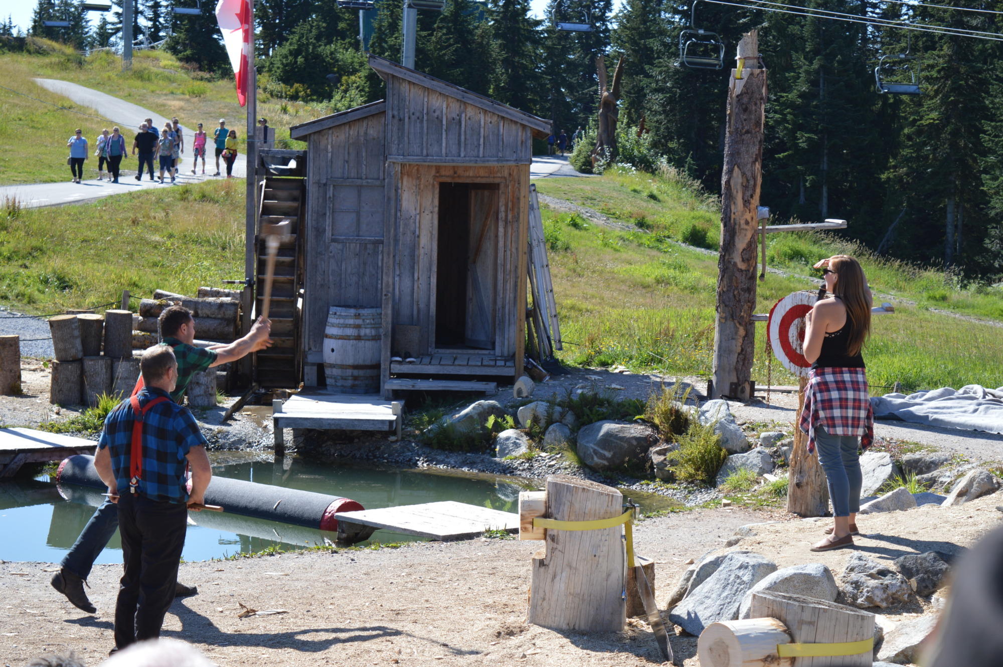 Grouse Mountain lumberjack show axe throwing