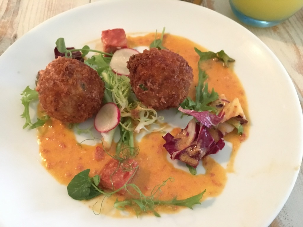 Arancini Balls at Amelie's, Porthleven, Cornwall